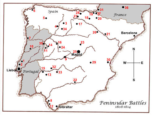 Map of Peninsular War Battles